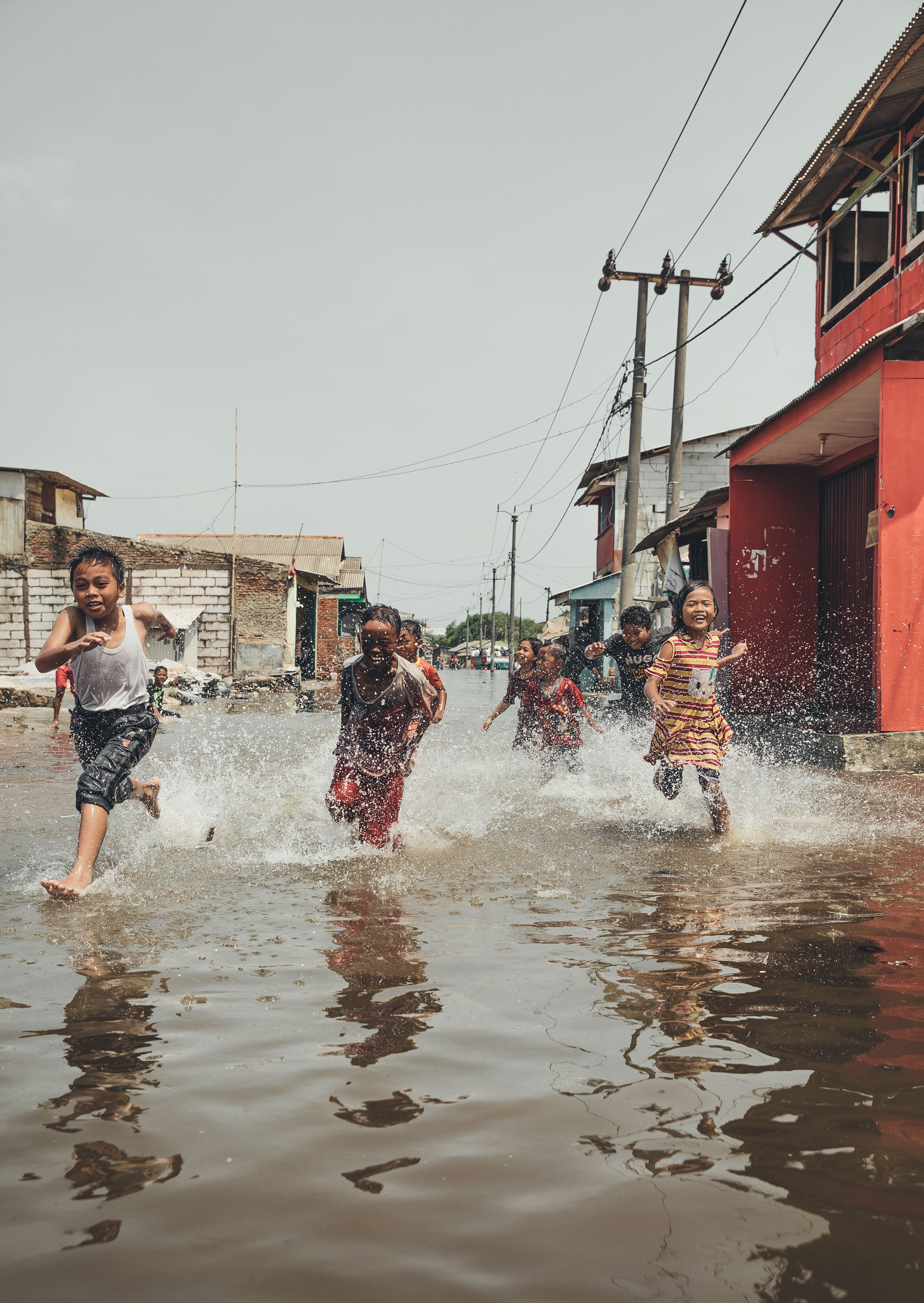 Flooded slums